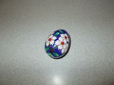 Decorative Brass and Enamel Cloisonne Egg Colbalt Blue w Pink and White Flowers