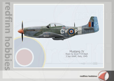 Warhead Illustrated Mustang IV 3 Sq RAAF CV P Aircraft Print