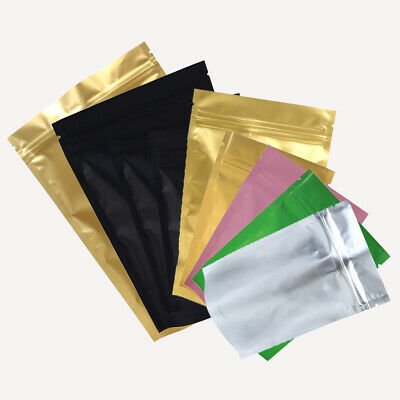 New Stand Up Mylar Zip Lock Reclosable Bags Pouches Variety Colors Size
