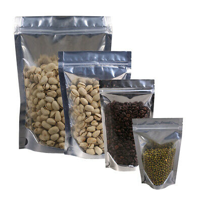 New Clear/Silver/Silver Stand Up Mylar Zip Lock Resealable Bags Different Sizes