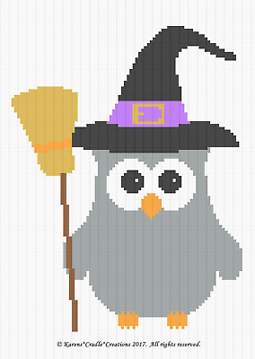 Crochet Patterns - OWL - HALLOWEEN WITCH BABY afghan pattern *EASY