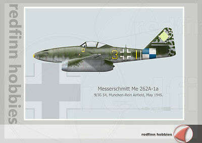 Warhead Illustrated Me 262A-1a 9/JG54 Aircraft Print