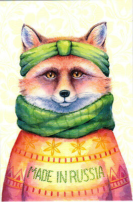 FOX FROM RUSSIA IN WINTER OUTFIT Modern Russian postcard