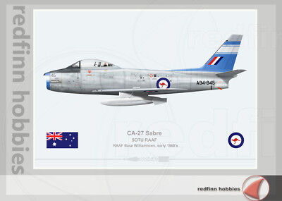 Warhead Illustrated CA-27 Sabre 5OTU RAAF A94-345 Aircraft Print