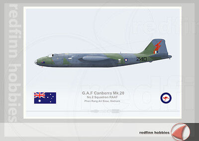 Warhead Illustrated Canberra Mk.20 RAAF 2Sqn 240 Vietnam War Aircraft Print