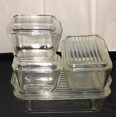 Pyrex CRYSTAL/ CLEAR *8 PC REFRIGERATOR SET* Hard To Find.