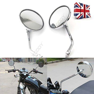 Pair Motorcycle Rearview Mirrors Mirror Side Round Universal 10mm Scooter UK