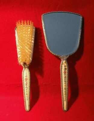 Vintage *regent Of London* Vanity Hand Mirror & Removable Brush Set Needlepoint