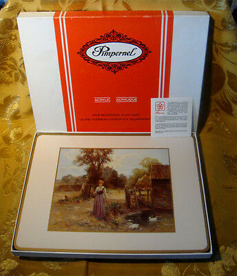 """Pimpernel *country Life* 4 Traditional Placemats 12"""" X 9"""" Acrylic Cork Boxed"""