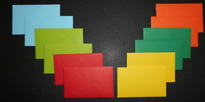 HANDMADE  MINI ENVELOPES  x 12 -  90mm x 57mm - 6 COLOURS - Great for Gift Cards