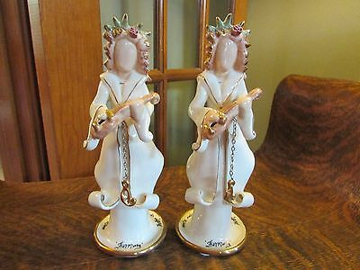 """Pair Of Heather Goldminc Blue Sky September 11, 2001 """"harmony""""  Candle Holders!"""