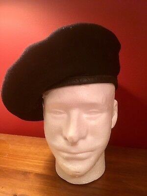 WW2 British Canadian  Black Armoured Corps Beret Battle Used Tanker 1945 W^D