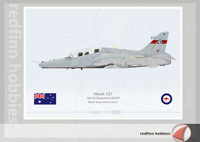 Warhead Illustrated Hawk 127 RAAF 76Sqn  Aircraft Print
