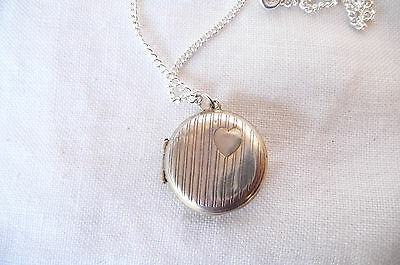 Vintage Early Solid Silver Circular Locket Pendant with Engraved Love Heart
