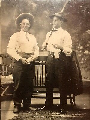 Antique Tintype Photo Smoking & Drinking Outlaws w/ Baseball Bat , Up To No Good