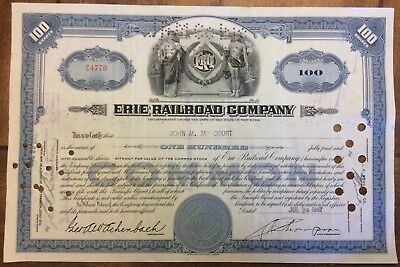 1940's ERIE RAILROAD COMPANY STOCK CERTIFICATE - 100 SHARES - GREAT CONDITION