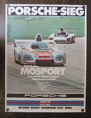 Original 1976 Vintage PORSCHE MOSPORT Victory Showroom Automobile Racing Poster