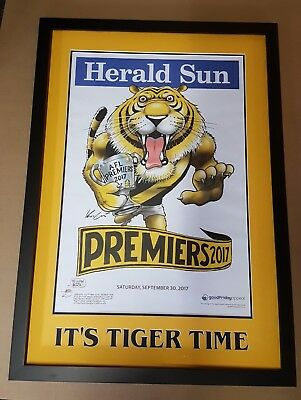 2017 Mark Knight Richmond Premiership Poster Matted & Framed Its Tiger Time