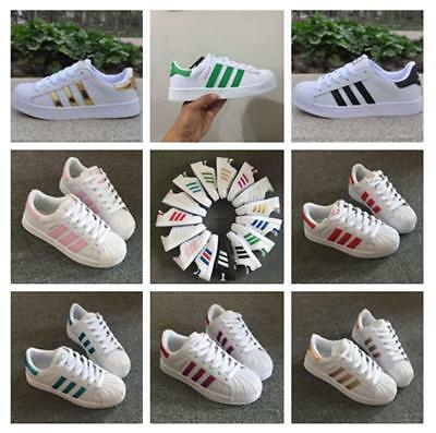Women's Fashion Leather Casual Lace Up Sneakers Trainer Shoes Superstar UK