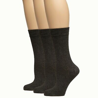 HUGH UGOLI  Women's Dress Crew Socks Business Casual Black Brown Navy Blue ...