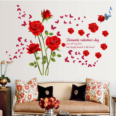 Flowers Removable Wall Stickers Decal Art Vinyl Rose Mural DIY Home Room-Decor
