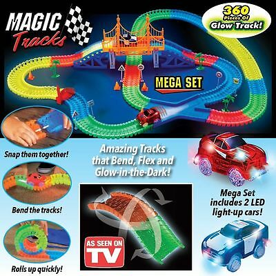 360 pcs MAGIC TRACKS Track Glow in the Dark LED LIGHT UP 2 RACE CAR AU STOCK NEW