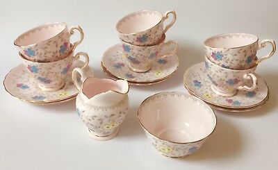 Tuscan Pink Coffee set cups  English vintage fine bone china high tea party
