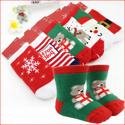 Baby Kids Christmas Anti-slip Looped Pile Ankle Socks Cotton Slipper Shoes 1-3Y
