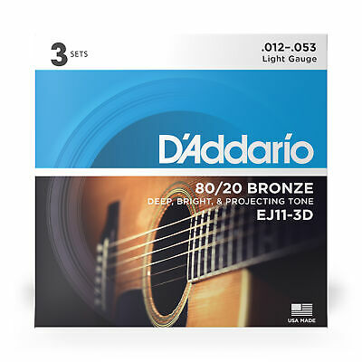 D'Addario EJ11-3D 3 Sets 80/20 Bronze Acoustic Guitar Strings, Light (12-53)