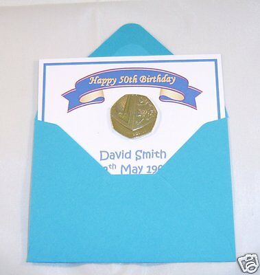 50th Birthday Gift - Gold Plated 50p & Personalised Card - Birthday Gift for Him