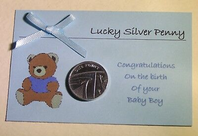 Personalised Lucky Silver Penny for a Baby Boy – Birth or Christening Gift
