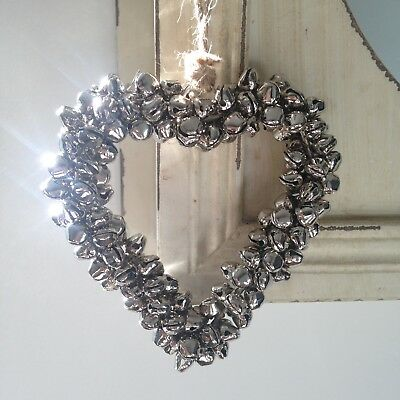 Shabby Chic Silver Metal Hanging Heart Home Decoration with Silver Bells