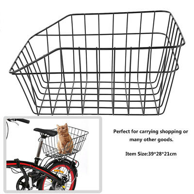 Large Bike Bicycle Wire Basket Rear-Mounted -Dog Cat Pet Luggage Rear Carrier UK