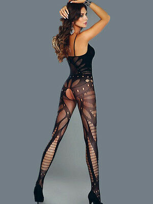 Sexy Fishnet Sleeveless Patterned Bodystocking Crotchless Bodysuit