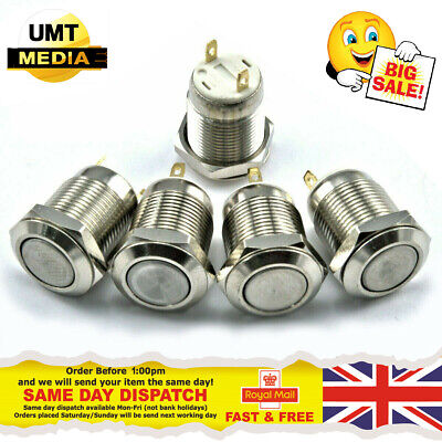 12mm Round Metal Push Button Switch Momentary Power Reset