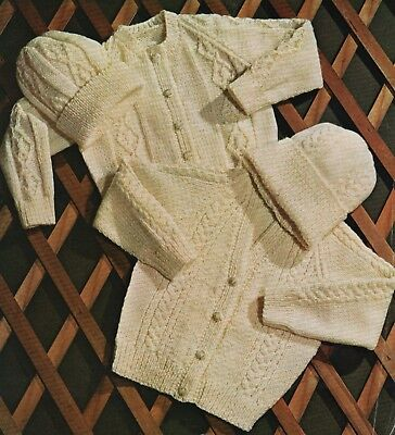 Vintage Knitting Pattern For Child's Aran Cardigans And hat