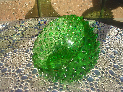 Fenton Green Hobnail Glass Orb