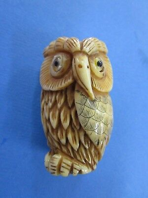 CHINESE HAND CARVED / ETCHED Bovine BONE NOT IVORY, STANDING OWL