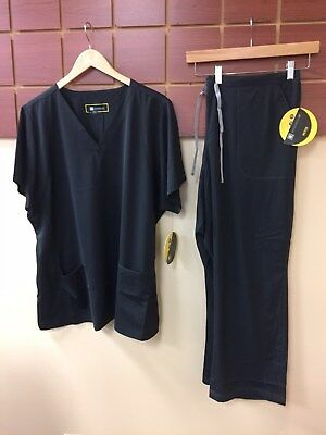 NEW Wink HP Black Solid Scrubs Set With 2XL Top & 2XL Petite Pants NWT