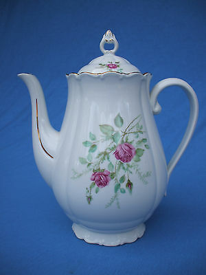 antique bohemian porcelain ceramic coffee pot painted  roses 10 inch