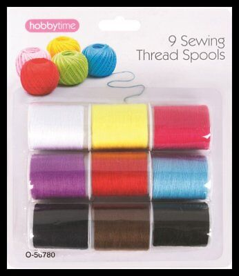 9 Pack Of Sewing Thread Cotton Assorted Colours, Hand And Machine Sewing
