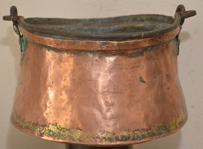 Antique Hand-Forged Copper Apple Butter 1800's Cauldron~Dovetail Seems~Primitive