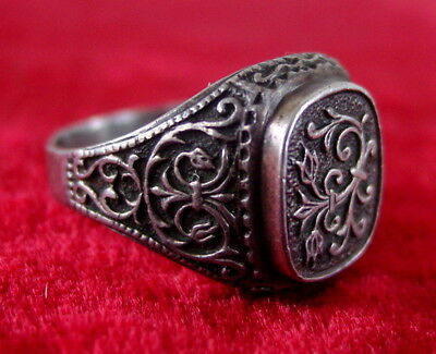 Antique Russian Sterling Silver Men's RING, Russia USSR, 875, Size 13