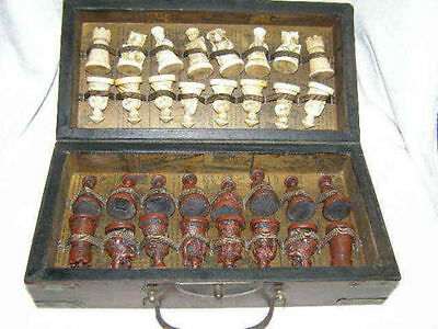 Chinese Army Style 32 Pieces Chess Set Leather Wood Box Board & Traditional Game
