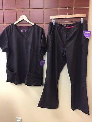 NEW Urbane Ultimate Brown Solid Scrub Set With Large Top & Large Petite Pant NWT