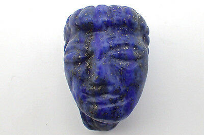 Very Rare Egyptian Natural Lapis Carved Lady Face w/Hair IDOL BEAD Pendant #5275