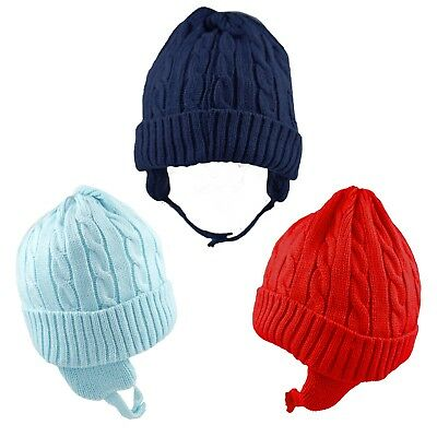 Baby Hat Winter Warm Cable Knitted Chin Strap Boy Girl Unisex 6-12 12-18 Months