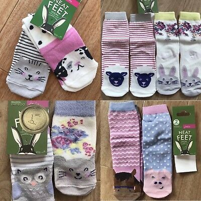 Joules baby girls neat feet socks 2x pairs Dalmatian horse pig hare mouse cat