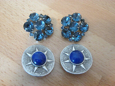 Statement vintage clip on earrings, 2 pair large rhinestone silvertone earrings