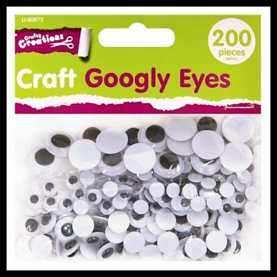 New 200 Wiggly Wibbly Wobbly Eyes Googly Eyes Art Crafts Mixed Sized Packs